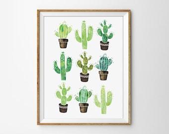 Cactus Print, Succulent Poster, Watercolor Cactus, Modern office Print, Watercolor Poster, Nature Print, Bedroom Poster, Flower Print