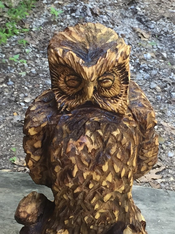 Owl chainsaw wood carving hand carved sculpture log