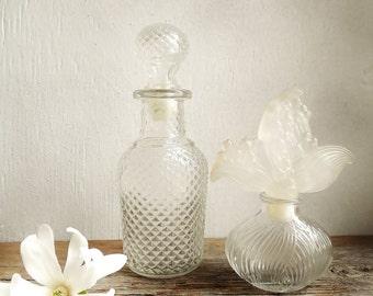 Vintage Vanity Dresser Perfume /Cologne Bottles & Stoppers Set~ Clear Glass Bath  Herbal Decanters /# 0508