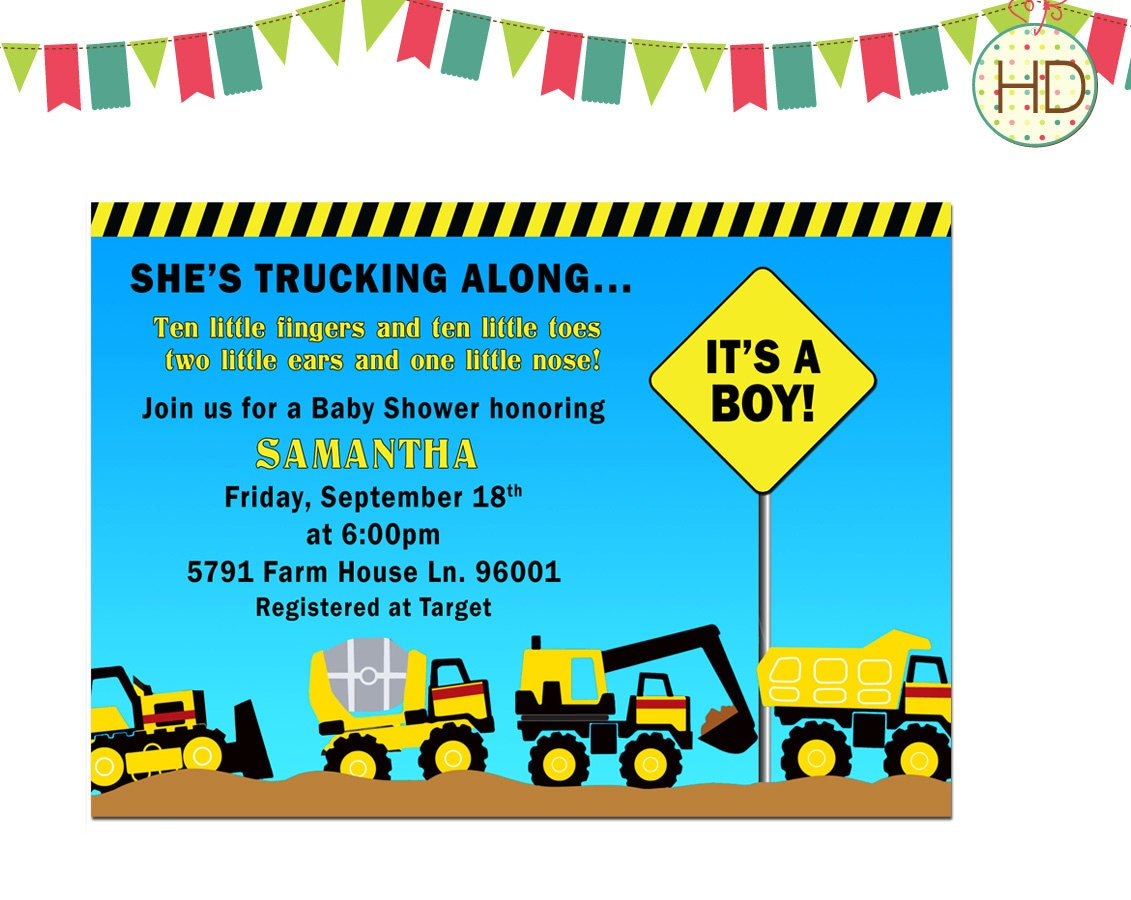 Truck Baby Shower Invitation Tonka Trucks Baby by HDInvitations