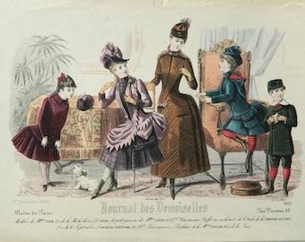 Antique fashion print from Journal des Demoiselles -  Victorian era crinolines