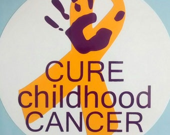 CURE Childhood CANCER Car Decal -- Layered Permanent Vinyl Decal -- Pediatric Cancer Awareness Bumper Sticker