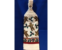 Christmas Hanging Hand Towel Raining Gingerbread Men with White Crocheted Top