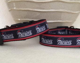 Dog Collar - Patriots Navy w White Red