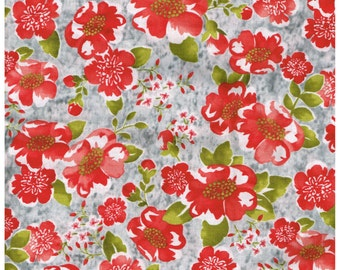 BTY, MC301, 100% Cotton, HA Gray, Red Flowers, Green Leaves, Quilting,Crafts, Home Decor