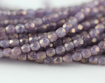 50 Luster Stone Amethyst : 3mm Firepolish, Czech Glass Faceted Round Beads (FP-3M-70)