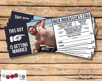 PRINTABLE or PRINTED Stag Tickets / Use Your Own Photo / Bachelor Party / Insert Your Own Photo / Personalized Stag Ticket Bundle / Raffle