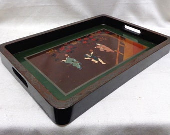 "Decorative Serving Tray w. Oriental Figures & Decorative Designs- 11x17"" ANTIQUE"