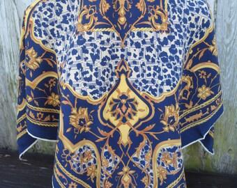 Vintage navy yellow oriental ornaments print crepe silk scarf