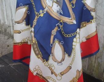 Beautiful vintage Jerome Leplat  Paris equestrian silk square scarf