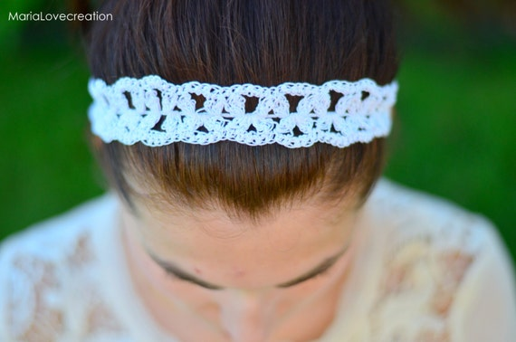 White hairband, crochet flower hair band boho style headband-Cable ...