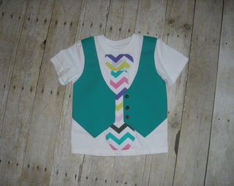T-SHIRT VEST and TIE - Appliqued Special Occassion - Boy's Comfy Dressup -
