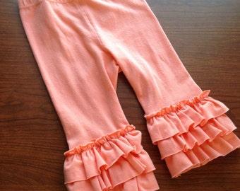Coral ruffle leggings, pant or capri length. Baby, toddler, girl sizes