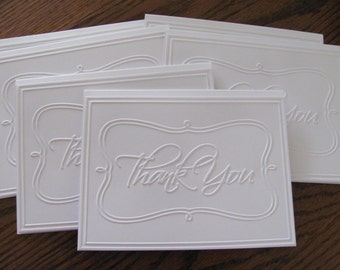 Thank You Card Set of 6 , Wedding Thank You Cards, Thank You Cards,  Embossed Thank You Note Cards, Thank You
