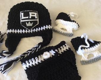 Los Angeles Kings. Baby Crochet Hockey Earflap Hat, Diaper Cover, and Skate Booties.