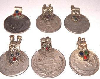 6 Colourful Jewelled Vintage Kuchi Tribal Coins K: Old Ethnic Real Gypsy Coin Jewellery/Jewelry