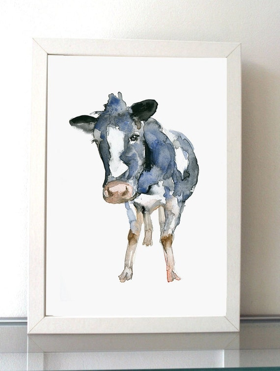 Cow watercolor painting giclee print cow art animal for Cow painting print