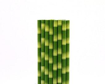 Bamboo Patterned Paper Straws-Bamboo Straws-Safari Straws-Jungle Party Straws-Bamboo Birthday Party Straws-Panda Baby Shower Decor