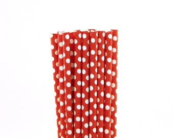 Red with Medium White Polka Dot Paper Straws-Polka Dot Straw-Picnic Paper Straws-Minnie Mouse Birthday Party-Red Paper Straws-Drinking Straw