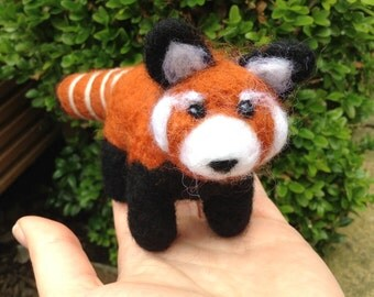 Needle Felted Red panda Handmade made to order