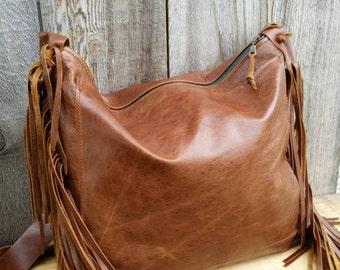 Boho Fringe Leather Bag / Gypsy Fringe Leather Handbag / Leather Fringe Handbag / Brown Leather Purse / Brown Fringed Bag /  Brown Purse