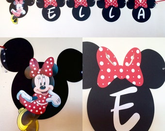 Minnie Mouse  Banner,Minnie Mouse Name Banner, personalized name banner, Minnie Decorations, Minnie Mouse wall decor