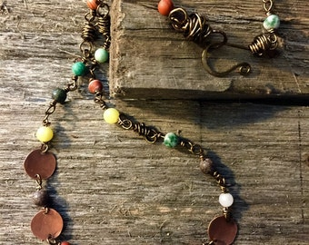 Antiqued copper beaded necklace