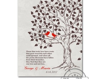 Bridal Wedding Gift Love Birds Family Tree Anniversary Gift - Family Tree Print, Wedding Love Bird Tree,