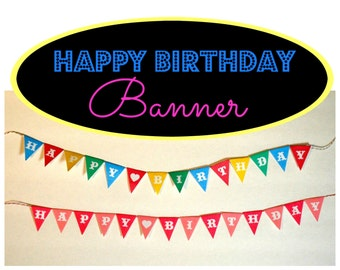 Miniature Happy Birthday Party Banner (1/6 playscale OR 1/12 scale dollhouse diorama mini for dolls) bunting pennant pink or multi-color