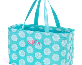Large Carry-All Tote - Aqua and White