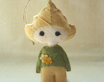 Felt Birch Doll Ornament #2, Embroidered Wool Felt Art Doll, Nature Inspired Handmade Ornament *Ready to Ship