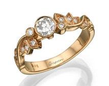 Leaf Engagement Ring, Rose Gold Ring, 14K Ring, Antique Ring, Vintage Ring, Art Deco Ring, Halo Setting Ring, Wedding Ring, Promise Ring