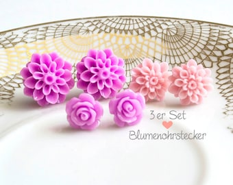 3erpack - flowers earrings-