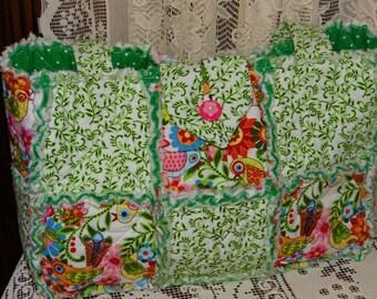 Fresh Spring Green, Birds, Florals, Cottage Chic Rag Tote Bag, Diaper Bag, Purse, New, Handmade