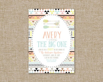 Printable Birthday Party Invitation, Neon Aztec.