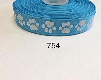 "3 or 5 yard -  7/8"" Glitter Dog Paw on Blue Grosgrain Ribbon Hair bow"