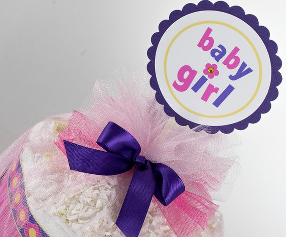 Diaper Cake - Diaper Cakes - Baby Girl Diaper Cake - Mini Diaper Cake - Baby Gift - Baby Shower Decor - Baby Shower Gift