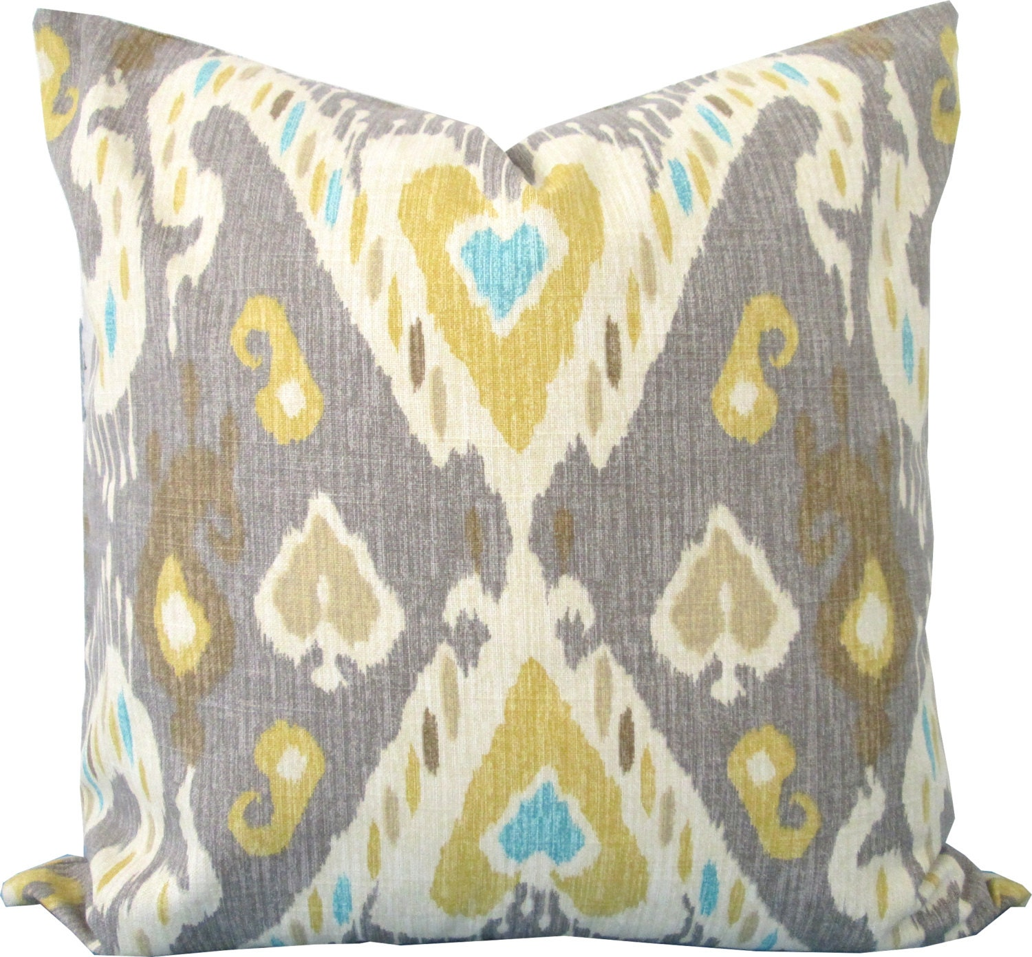 Yellow and Gray Ikat Decorative Pillow Cover Accent Pillow