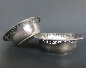 ANTIQUE SILVERWARE, Dish, Birks, Sterling silver cellars, Open salt pepper,  Holloware, Table service, Antique collectible, Nut dish, Gift