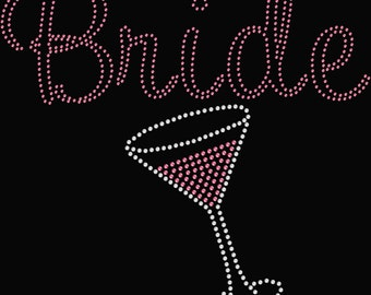 Bride with Martini Glass Rhinestone Transfer