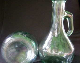 Seafoam Green Glass Jug Vase Wedding Table Decor Arts and Crafts