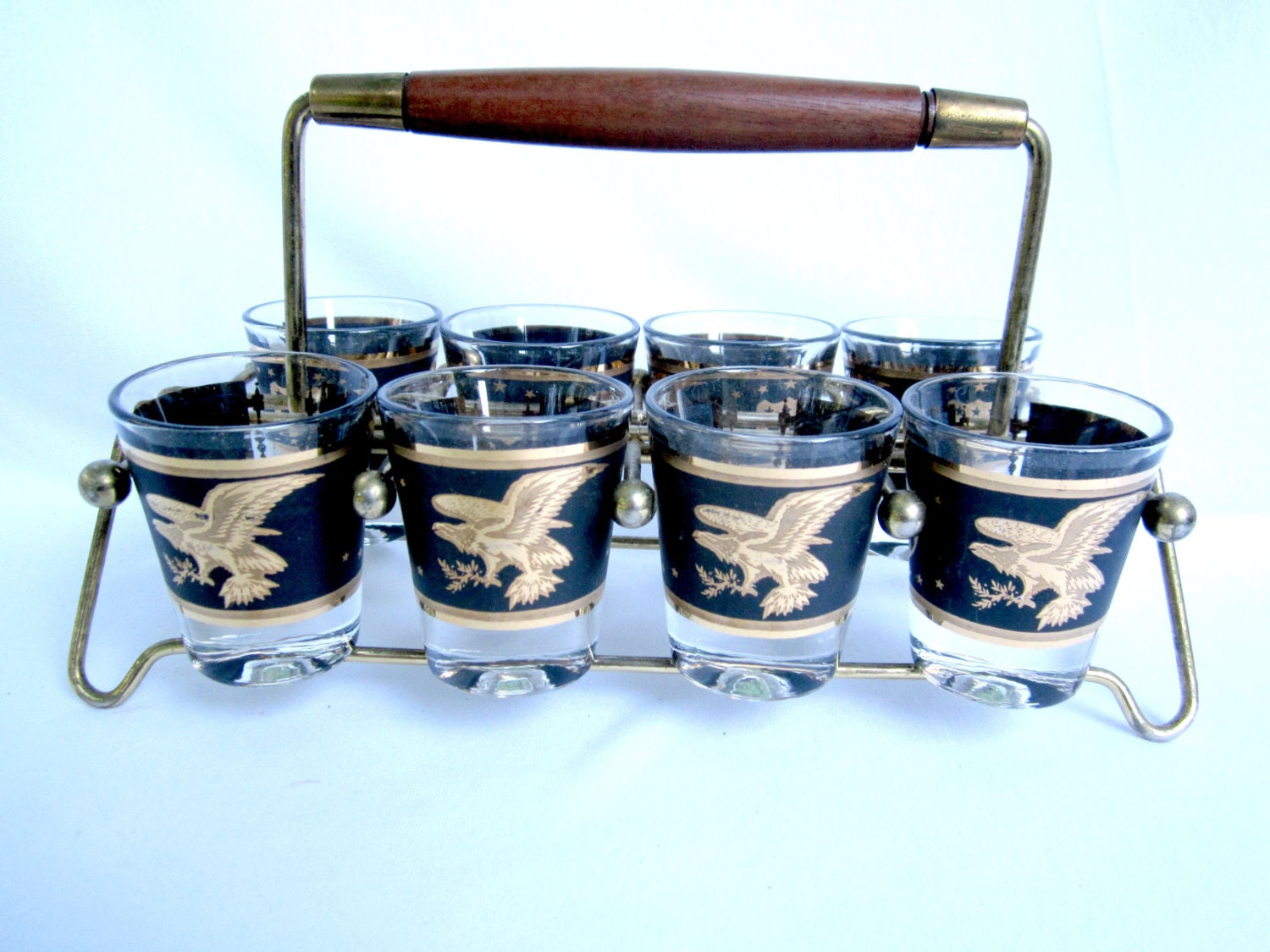 Whiskey Shot Glasses Barware Mancave Caddy Display Rack Black