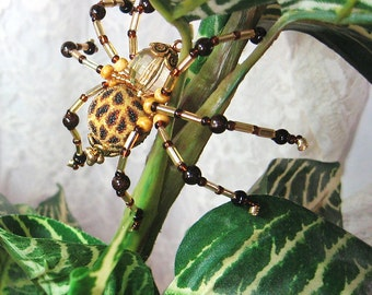 "Beaded Spider Figurine ""Tarzan"" - Stocking Stuffer, Bachelor Pad Gift, Miniature Sculpture, Office Decor"
