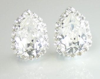 Bridal earrings,bridal jewelry,wedding jewelry,swarovski bridal earrings,teardrop earrings,clip on earrings,clear crystal earrings,swarovski