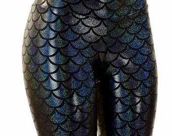 Black Metallic Dragon Scale Mermaid  High Waist Leggings Holographic Lycra Spandex  151420