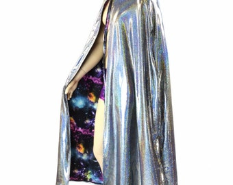 "50"" or 60"" Long Full Length REVERSIBLE UV Glow Galaxy and Silver Holographic Hooded Cape Cloak 151479"