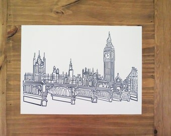 London Abstract One Line Digital Print
