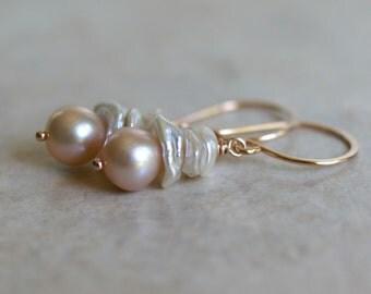 Freshwater keishi pearl dangle earrings, pearl drop earrings, pearl jewelry gift, bridal earrings, pierced earrings, rose gold fill ear wire