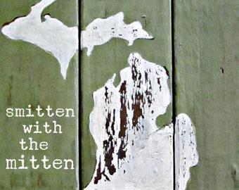 "Smitten with the Mitten 8x8"" Art Print on Wood"
