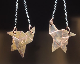 Copper Star Dangle Earrings (100% hand carved/shaped)